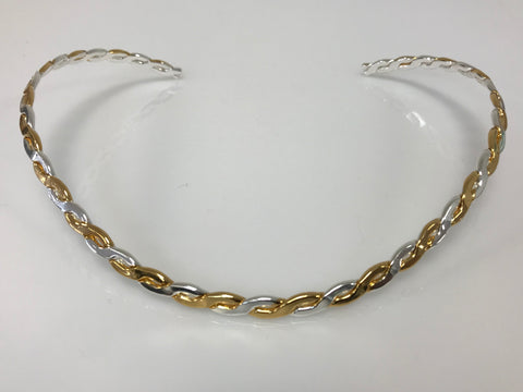 Choker - Small V Shaped Open Back Silver Necklace