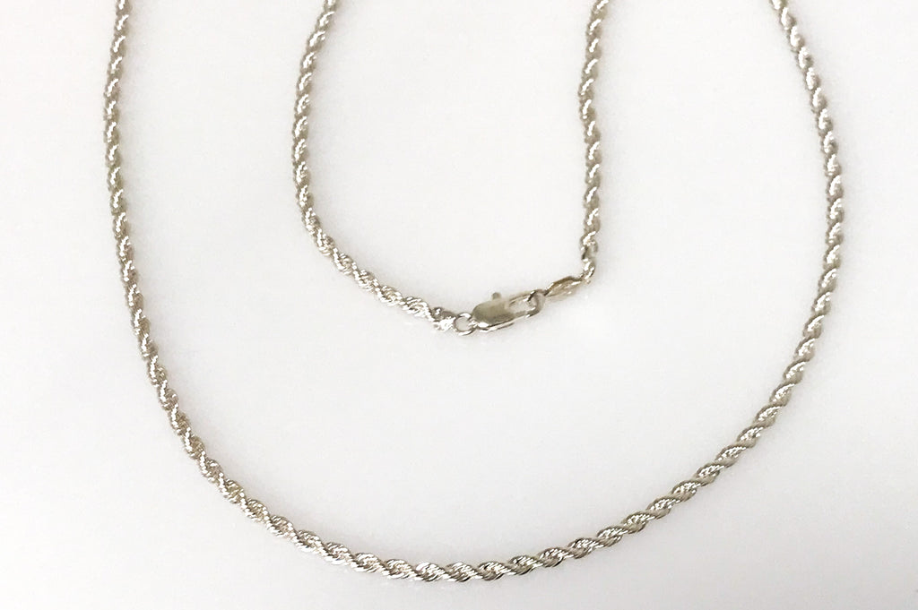 Silver Braided Rope Chain Size 16,18,20,24,30