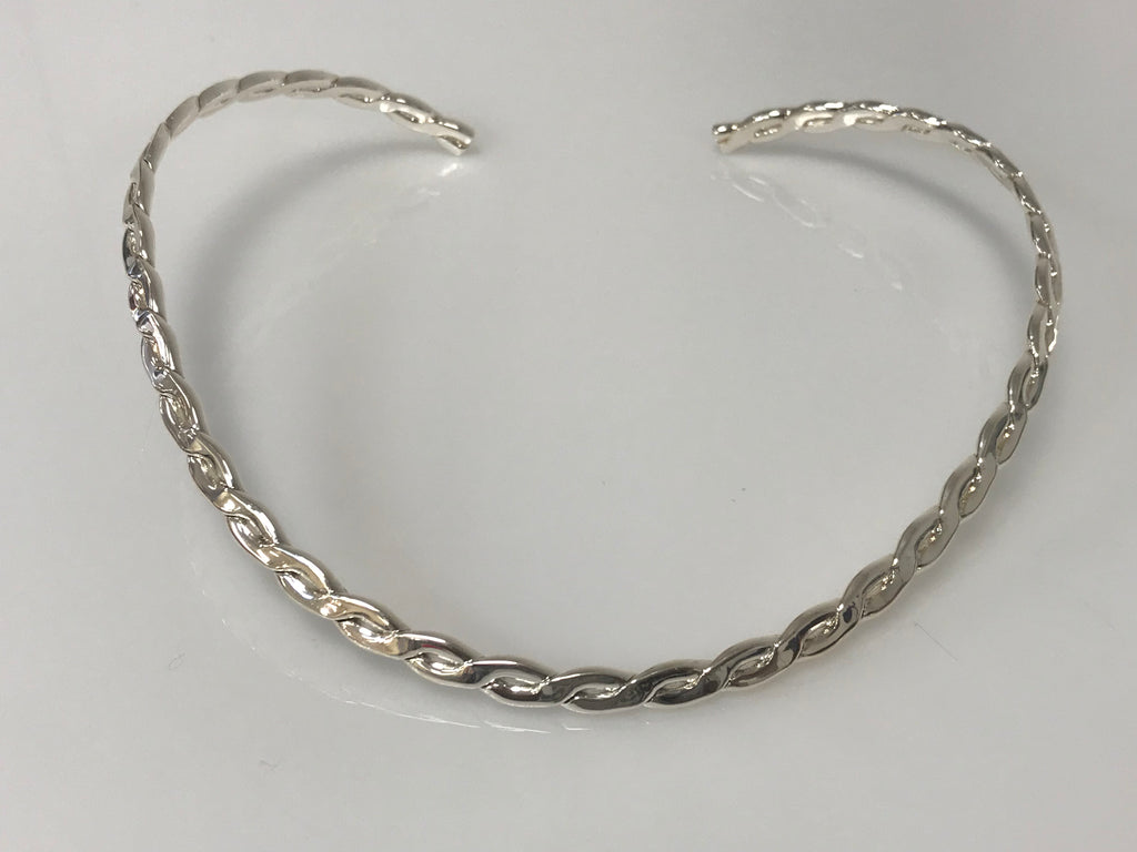 Choker - Solid Silver Braided Necklace - Accessories Boutique