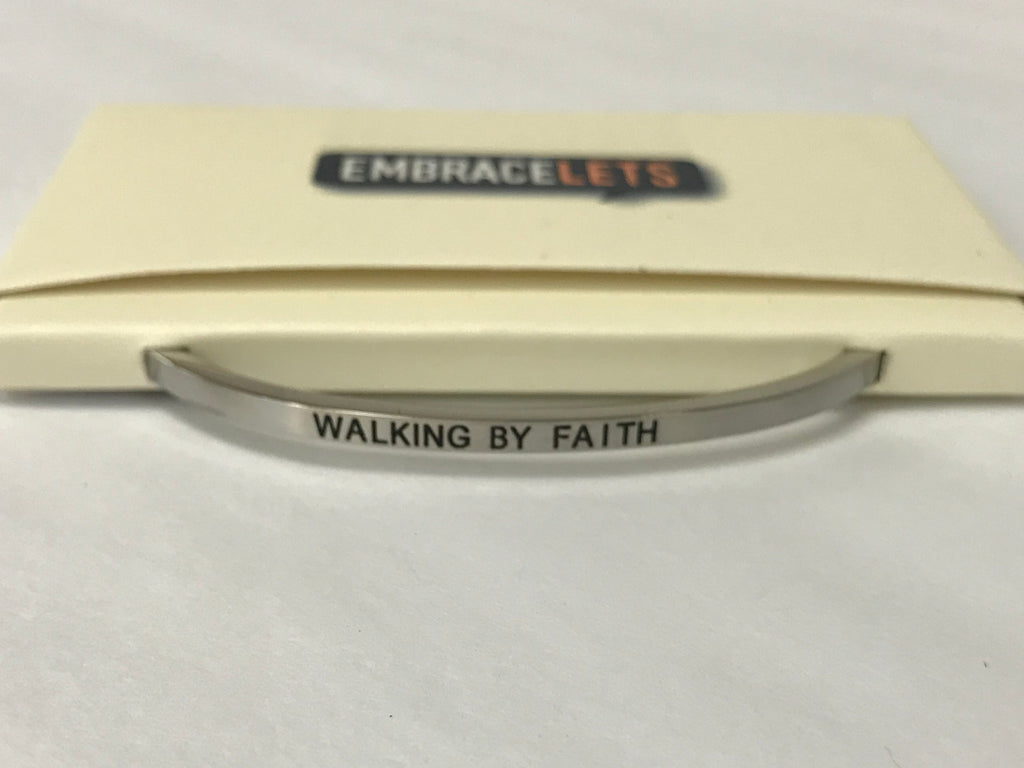 "Embracelets - ""Walking By Faith"" Silver Stainless Steel, Stackable, Layered Bracelet - Accessories Boutique"