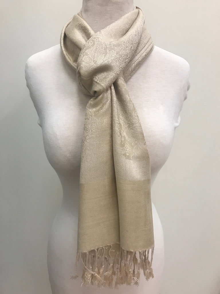 Pashmina Scarf Shawl - Beige Pattern - Accessories Boutique