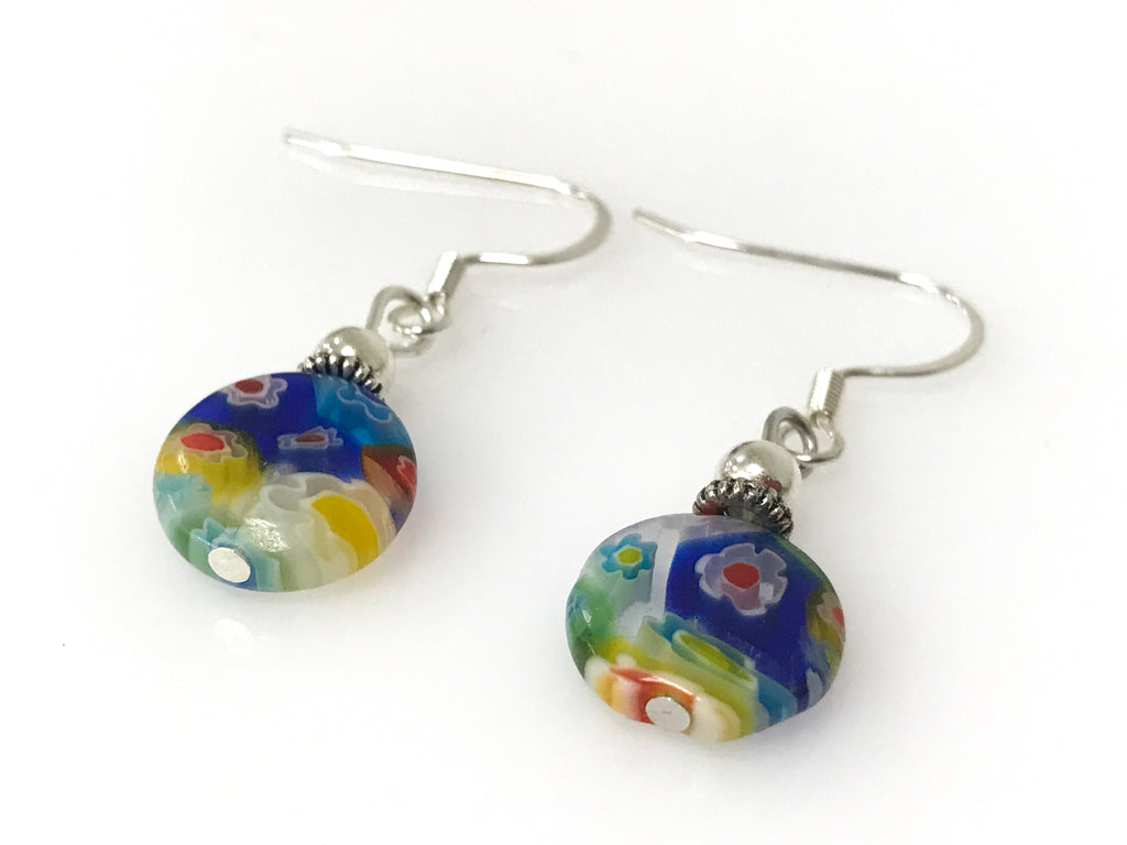 Handmade Millefiori Silver Earrings Round