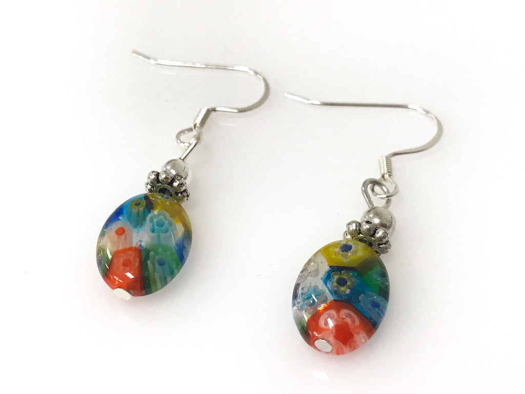 Handmade - Earring Millefiori Oval Glass Silver - Accessories Boutique