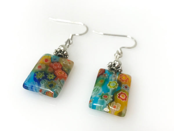 Handmade Millifiori Rectangle Silver Earring