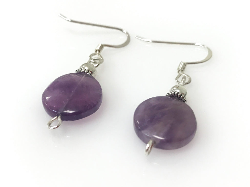 clip stud design product earrings silver amethyst piercing ear stone sterling purple