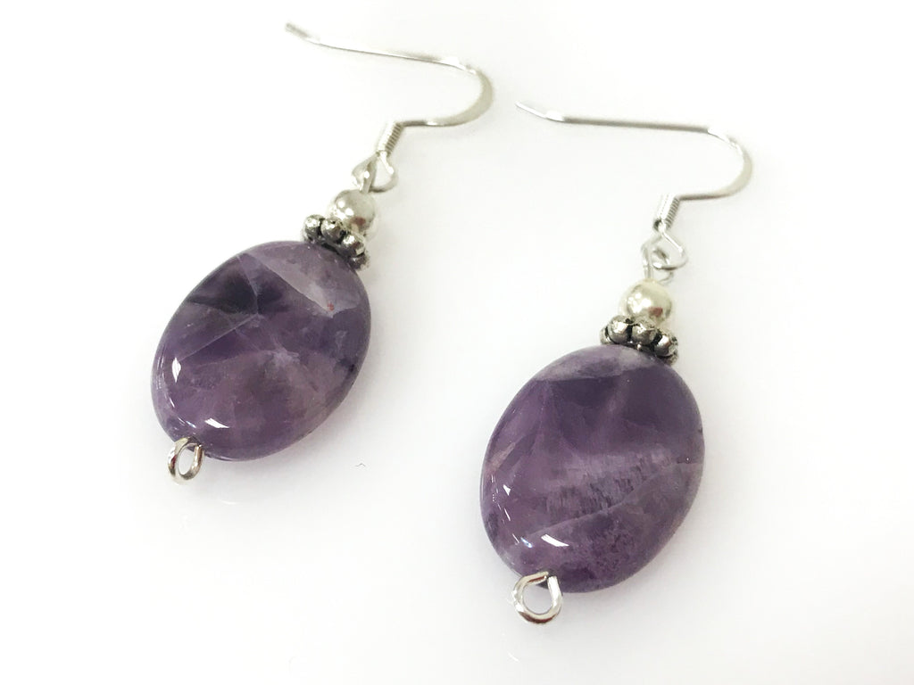 natural stone earrings p chip amethyst birthstone asp february ekm cluster gemstone