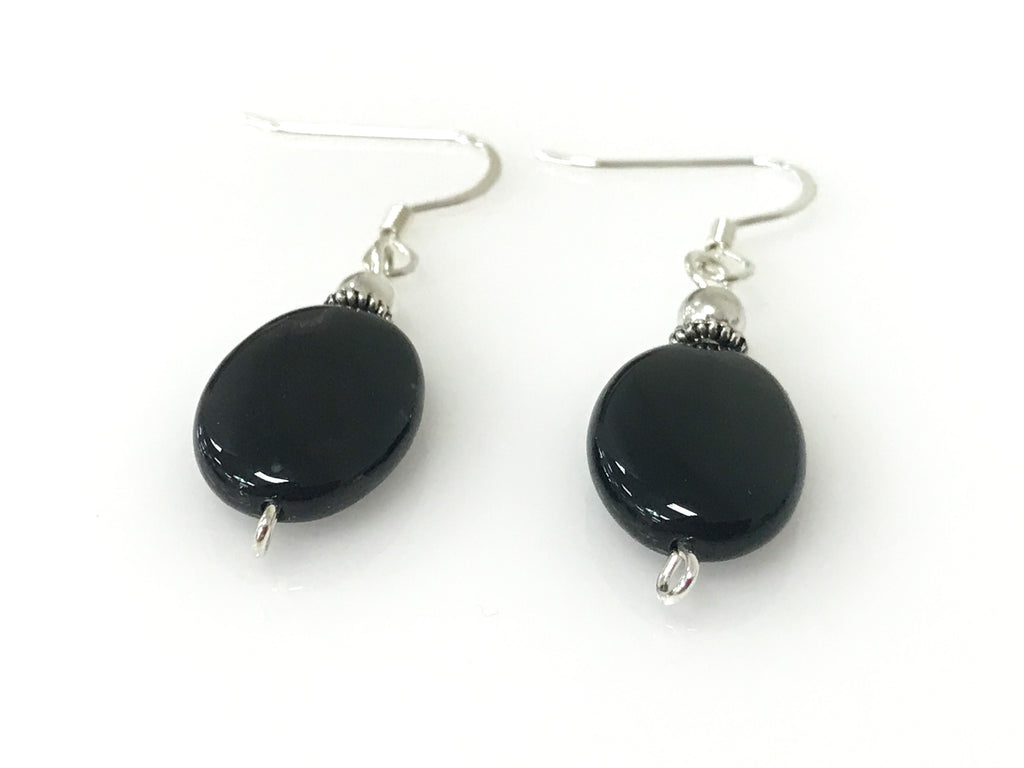 Handmade - Earring Onyx Oval Silver - Accessories Boutique