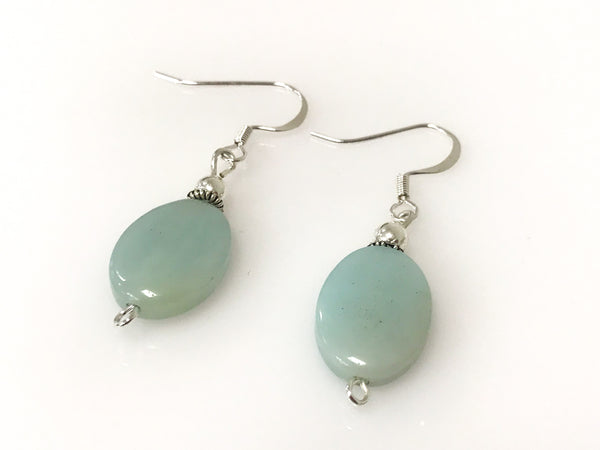 Handmade Amazonite Gemstone Oval Silver Earrings