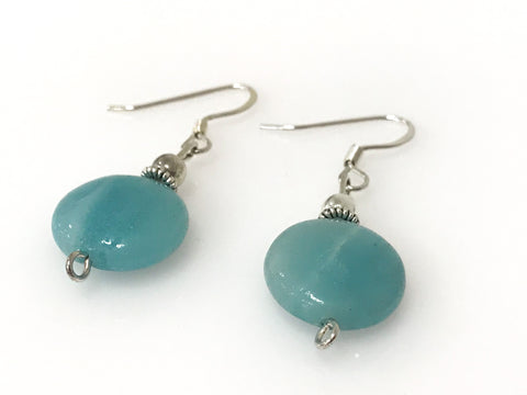 Handmade - Earring Amazonite Silver Gemstone Oval