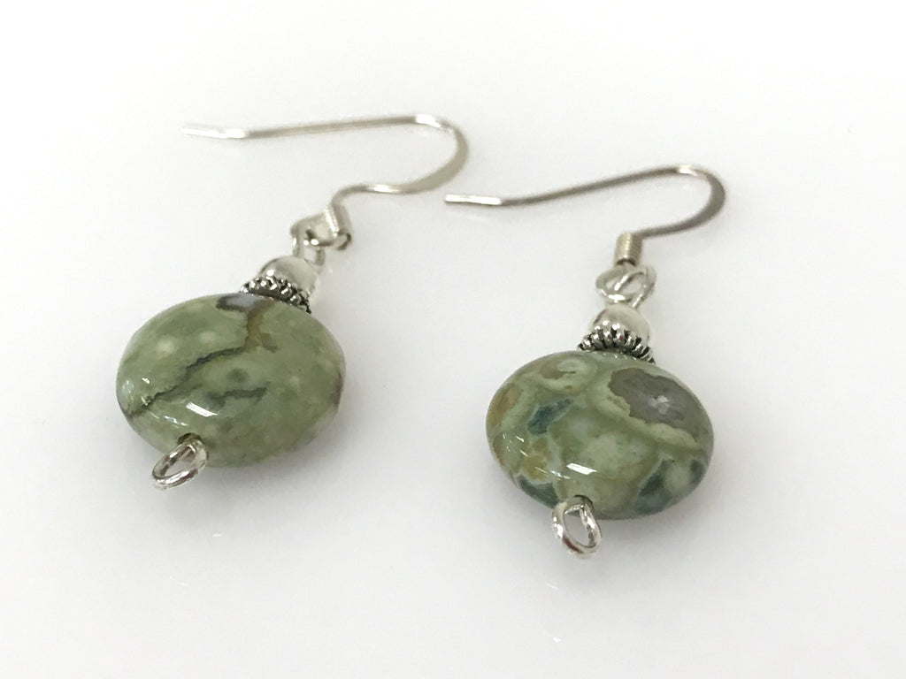 Handmade - Earring Rhyolite Gemstone Round Silver - Accessories Boutique
