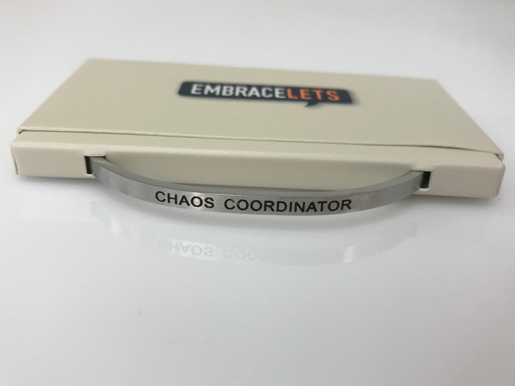 "Embracelets - ""Chaos Coordinator"" Silver Stainless Steel, Stackable, Layered Bracelet - Accessories Boutique"