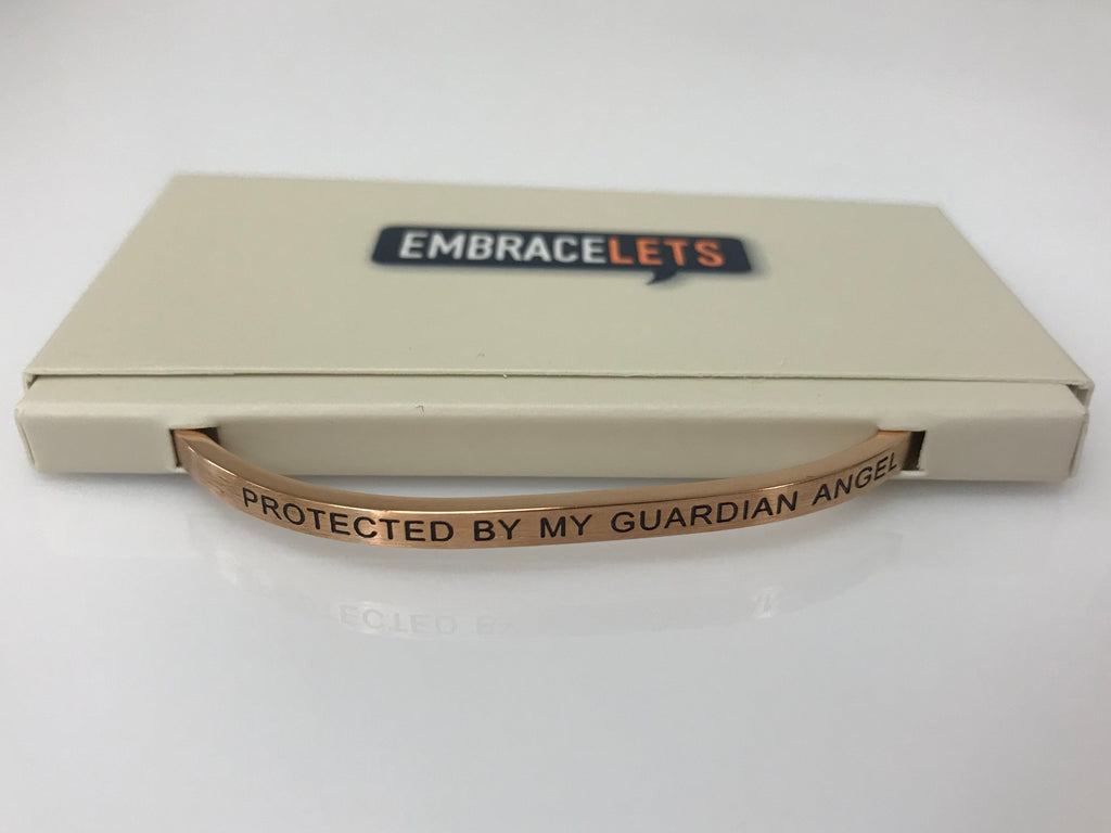 "Embracelets - ""Protected By My Guardian Angel"" Rose Gold Stainless Steel, Stackable, Layered Bracelet - Accessories Boutique"
