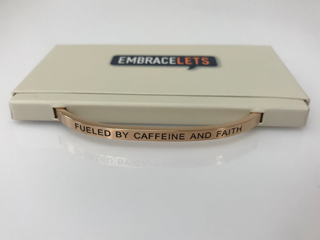 "Embracelets - ""Fueled By Caffeine and Faith"" Rose Gold Stainless Steel, Stackable, Layered Bracelet - Accessories Boutique"