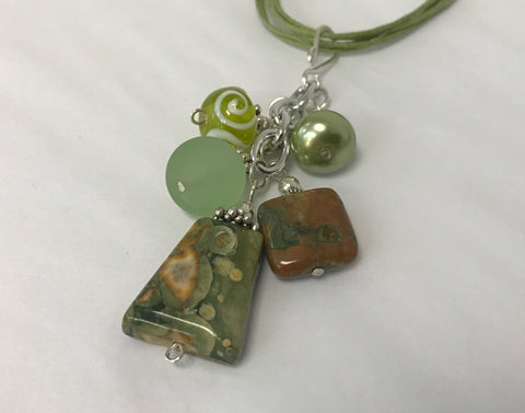 Cluster - Handmade Lime Green Sea Glass Necklace