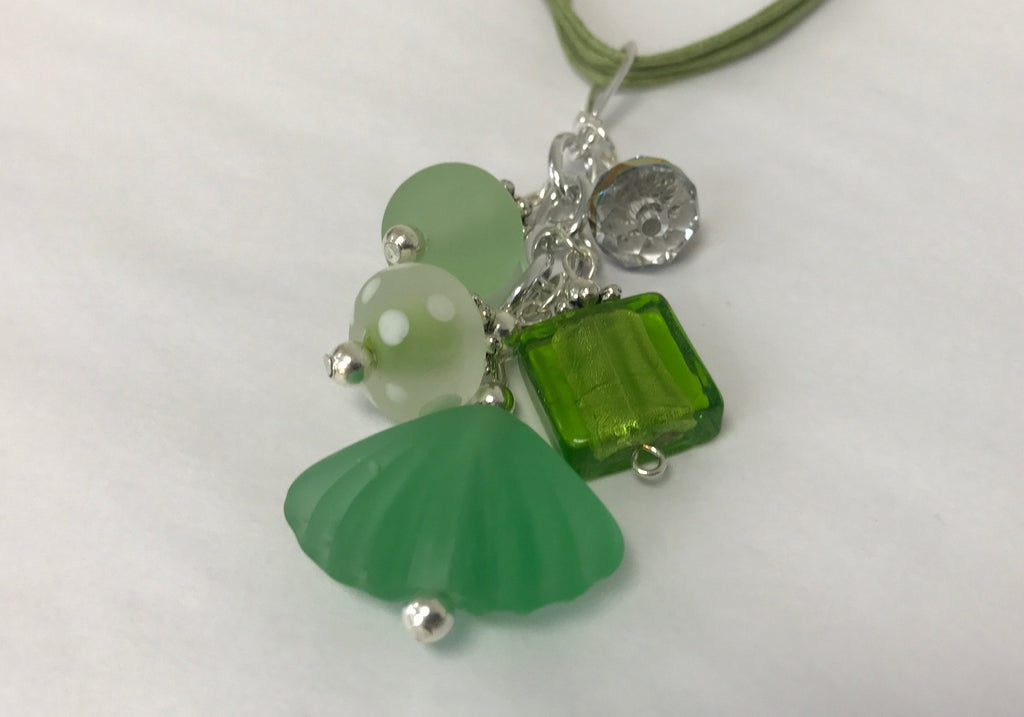 Cluster - Handcrafted Lime Green Sea Glass Necklace