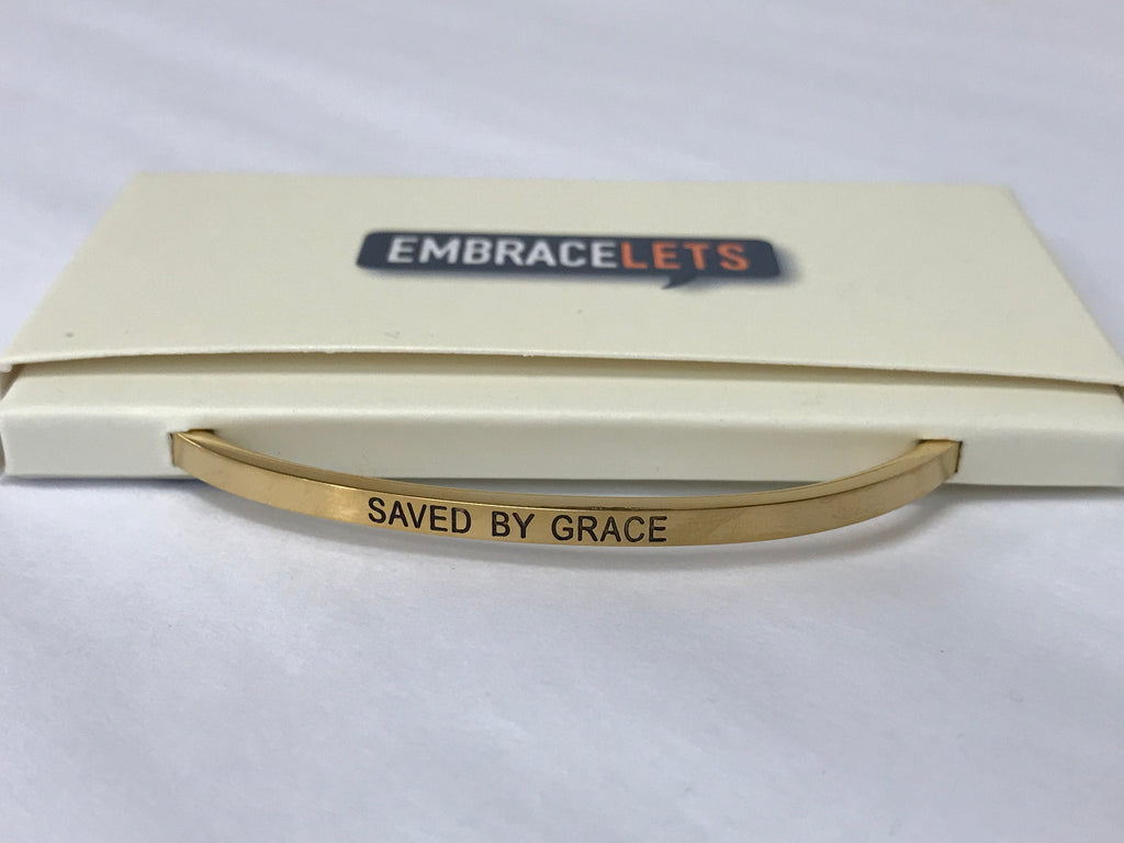 "Embracelets - ""Saved By Grace"" Gold Stainless Steel, Stackable, Layered Bracelet - Accessories Boutique"