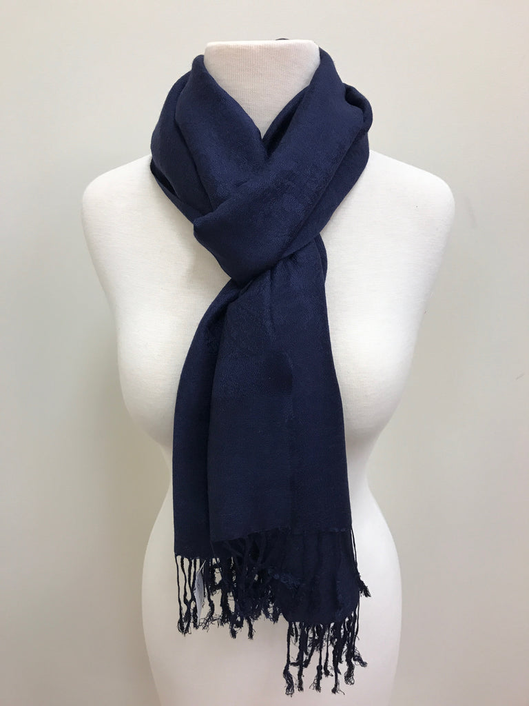 Pashmina Scarf Shawl - Navy Blue Patterned - Accessories Boutique
