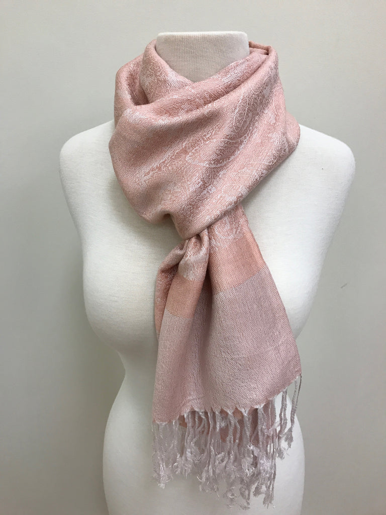 Pashmina Scarf Shawl - Pink/White Patterned - Accessories Boutique
