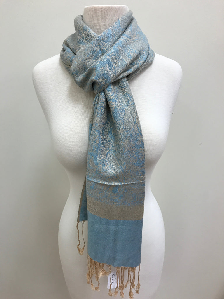 Pashmina Scarf Shawl - Blue/Beige Patterned - Accessories Boutique