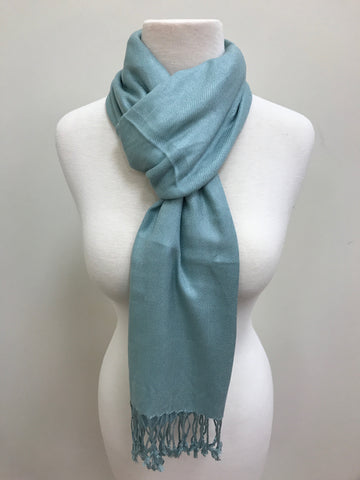 Pashmina Scarf - Teal & Gold Paisley Patterned Reversible Scarf Shawl