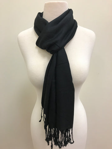 Pashmina Scarf - Black & Beige Paisley Patterned Reversible Scarf Shawl
