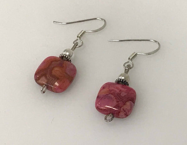 Sterling Silver Earrings - Square Fuchsia Crazy Lace Agate Stone