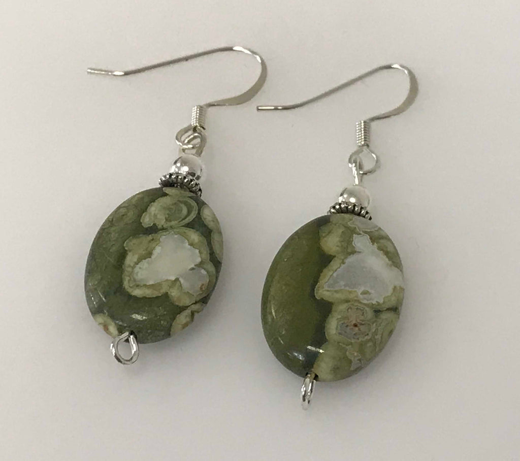 Handmade - Earring Rhyolite Oval Gemstone - Accessories Boutique