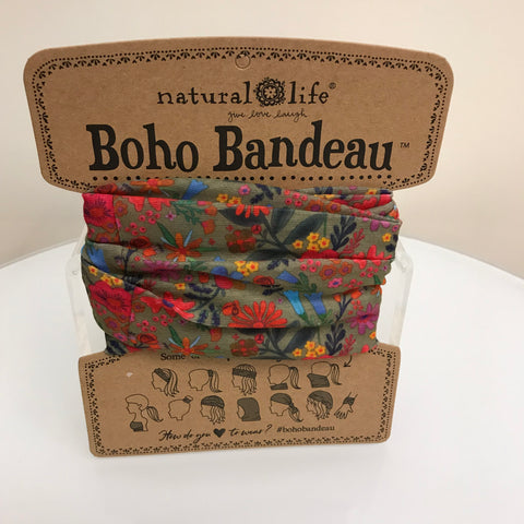 Natural Life Bandana Scrunchie - Purple Paisley HDBN385