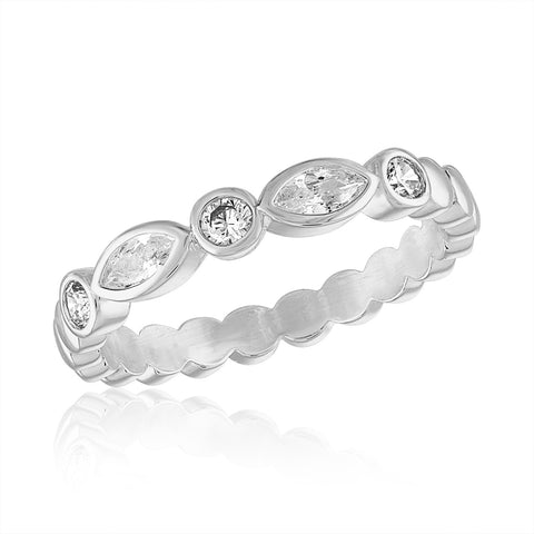 DaVinci Ring Stackable Round Pearl Detailed Band Silver STK9