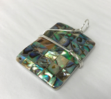 Sterling Silver Wrapped Pendant - Abalone Iridescent Shell Stone