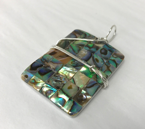 Sterling Silver Wrapped Pendant - Rectangle Snowflake Lapis Stone