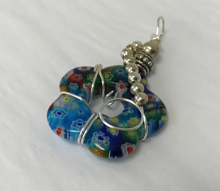 Sterling Silver Wrapped Pendant - Flower Shape Millefiori Stone