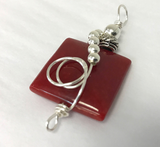 Sterling Wire Wrapped Pendant - Square Red Jade Stone