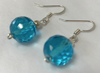 Handmade - Earring Crystal Turquoise Blue Faceted Round Silver - Accessories Boutique