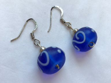 Handmade - Earring Royal Blue/White Murano Glass - Accessories Boutique