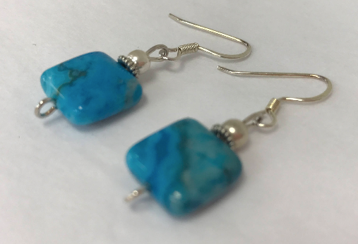 Handmade - Earring  Bright Blue Crazy Lace Agate Square Stone - Accessories Boutique