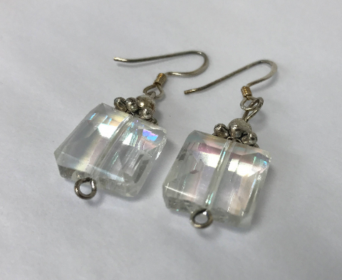 Earrings Silver Abalone Rectangle Clip EM8847AL