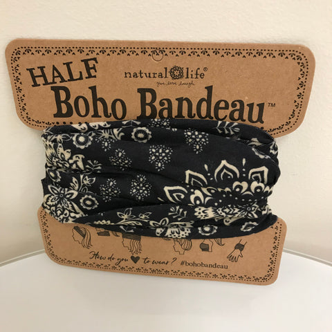 Natural Life Boho Bandeau (Half) - Black, Purple Floral BBW085