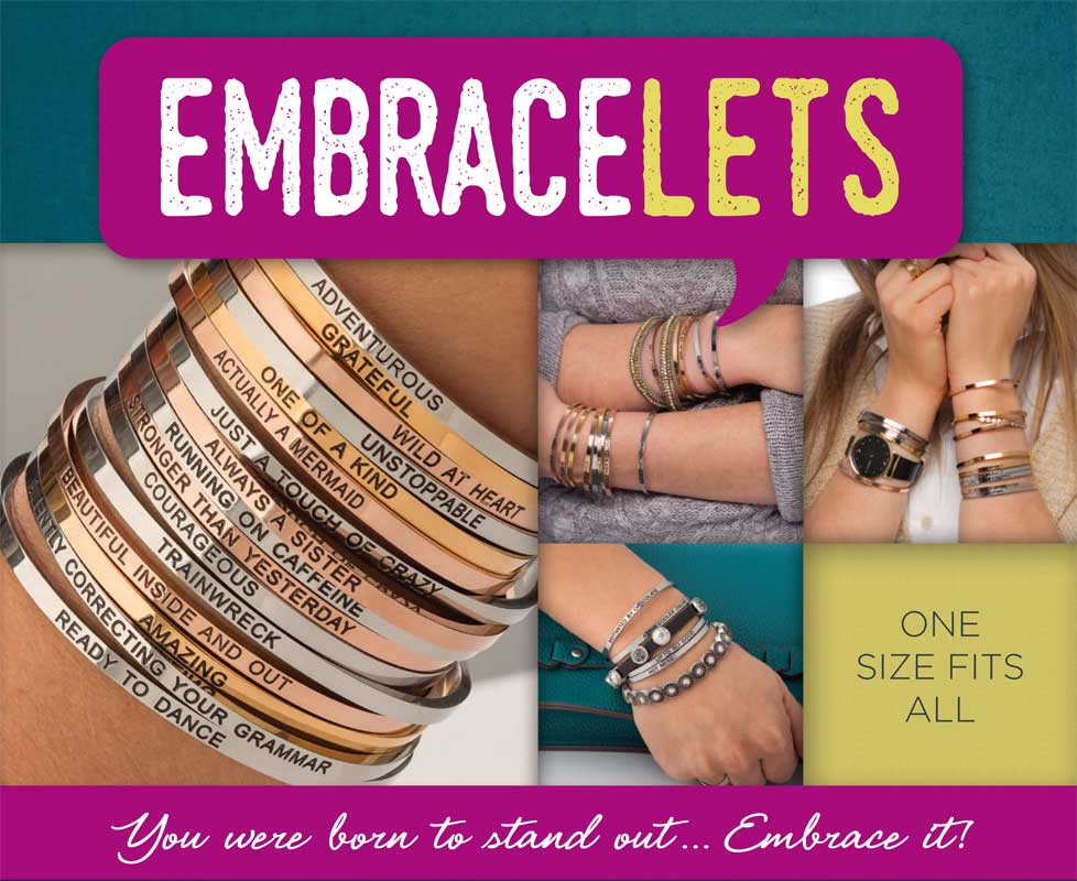 "Embracelets - ""Courageous"" Silver Stainless Steel, Stackable, Layered Bracelet - Accessories Boutique"