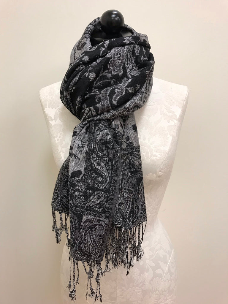 Pashmina Scarf - Black, Grey & White Patterned Pashmina Scarf Shawl