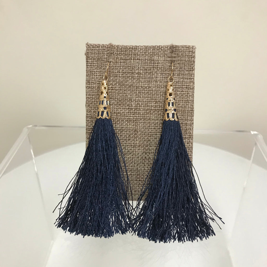 Redwood Earrings Gold Fishhook Navy Tassel LE1026GD/NAVY