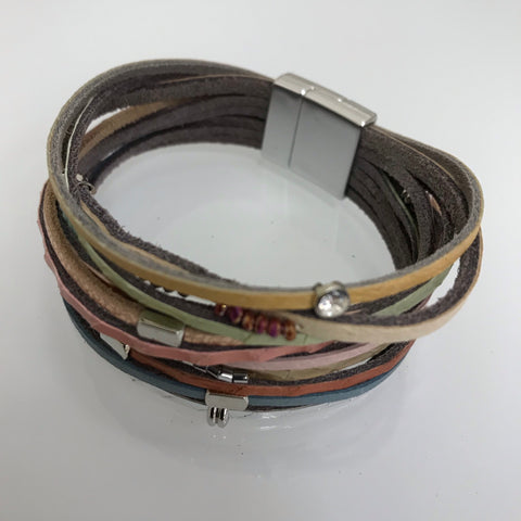 Bracelets - Zengo Brown Leather With Gray And Black Beads Z21