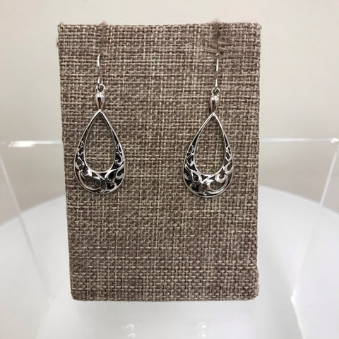 Earrings Silver Clip Double Teardrop Patterned EM8852ATS