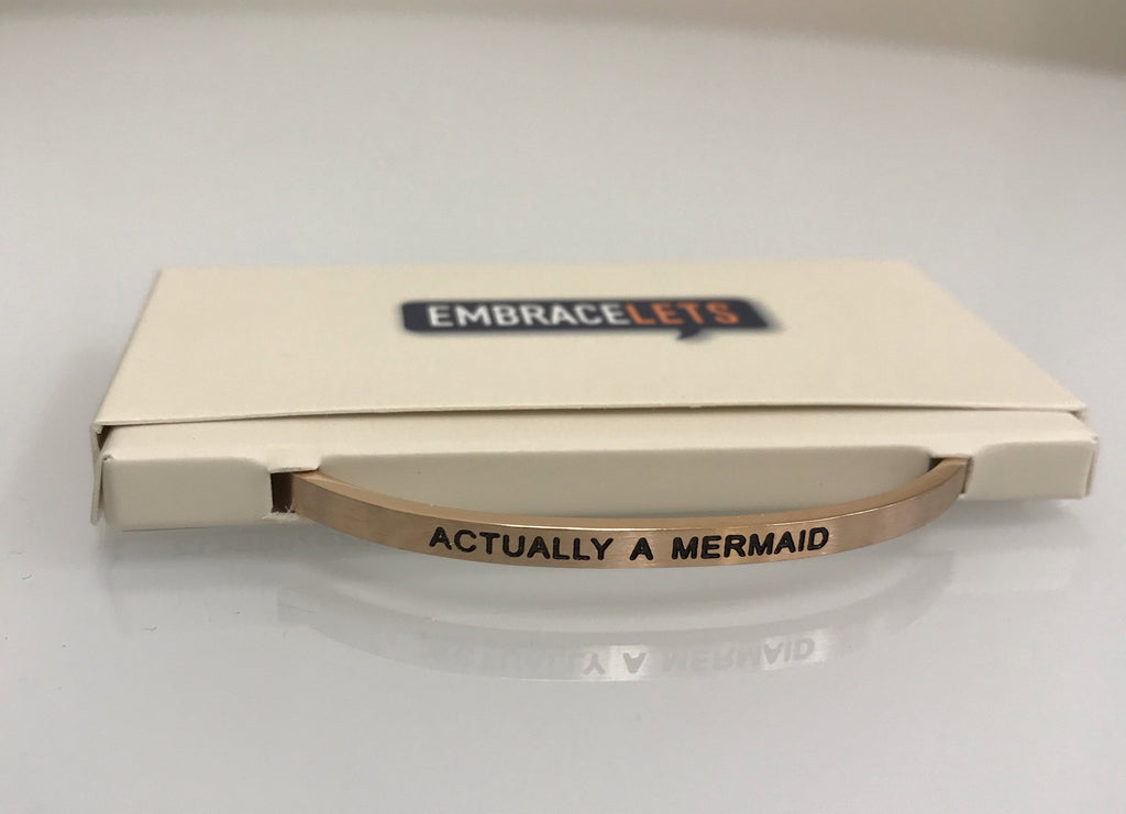 "Embracelets - ""Actually A Mermaid"" Rose Gold, Stainless Steel, Stackable, Layered Bracelet - Accessories Boutique"