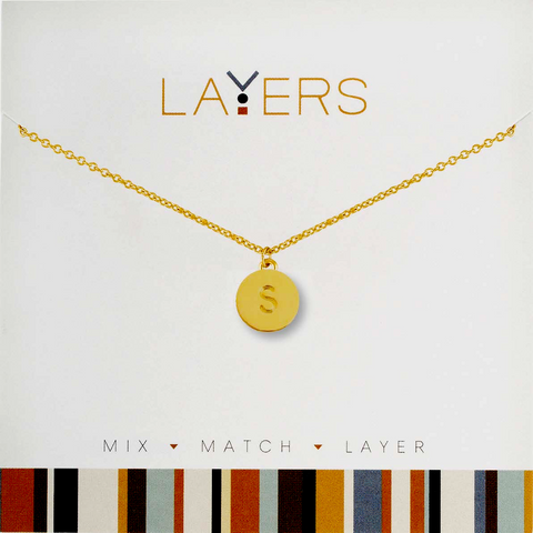 Center Court Layers Necklace Silver Disc w/ Crystal Moon LAY587S