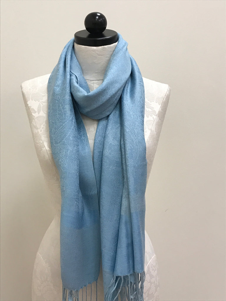 Pashmina Scarf Shawl - Blue Medium Pattern - Accessories Boutique