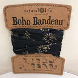 Natural Life Boho Bandeau - Black & Cream Floral BBW047