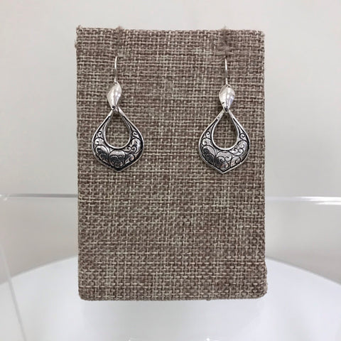 Its Sense Earrings Silver Gold Circle Pattern Drop Fishhook E6545WSV-MG