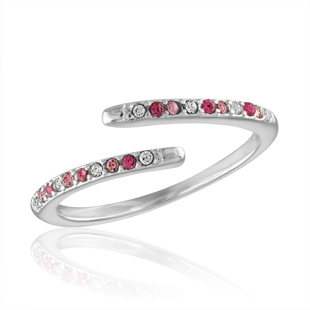 DaVinci Ring - Stackable Pink Crystal Open Band Silver Ring STK45