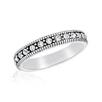 DaVinci Ring - Stackable Round Crystal Silver Ring STK12-4